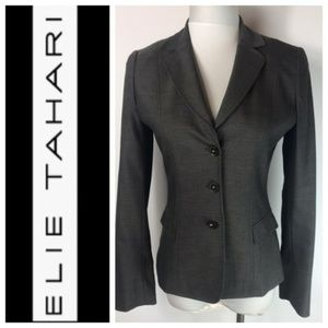 Elie Tahari Gray 3 Button Fitted Blazer